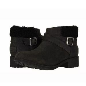 Ugg Benson Black Leather Sheepskin Lined Boots